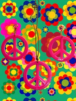 a79 60er 70er jahre kult hippie ohrringe peace kette set flower power. Black Bedroom Furniture Sets. Home Design Ideas