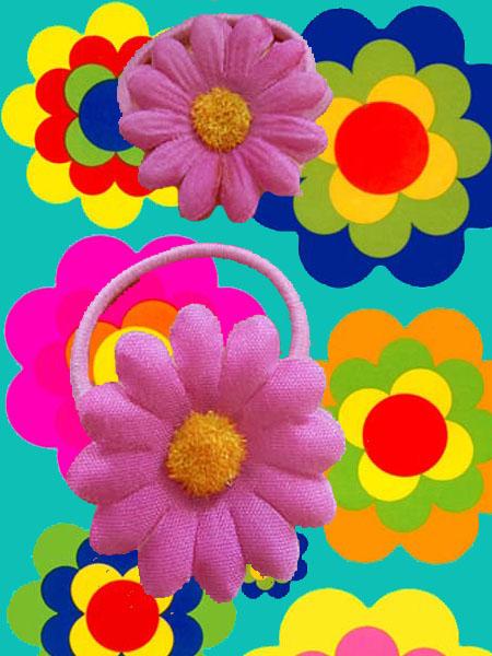 a70 70er jahre hippie flower power margeriten haarspangen haargummis. Black Bedroom Furniture Sets. Home Design Ideas