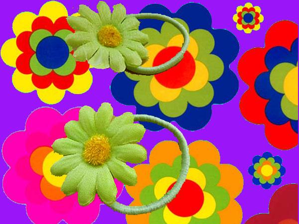 a68 70er jahre hippie flower power margeriten haarspangen haargummis. Black Bedroom Furniture Sets. Home Design Ideas