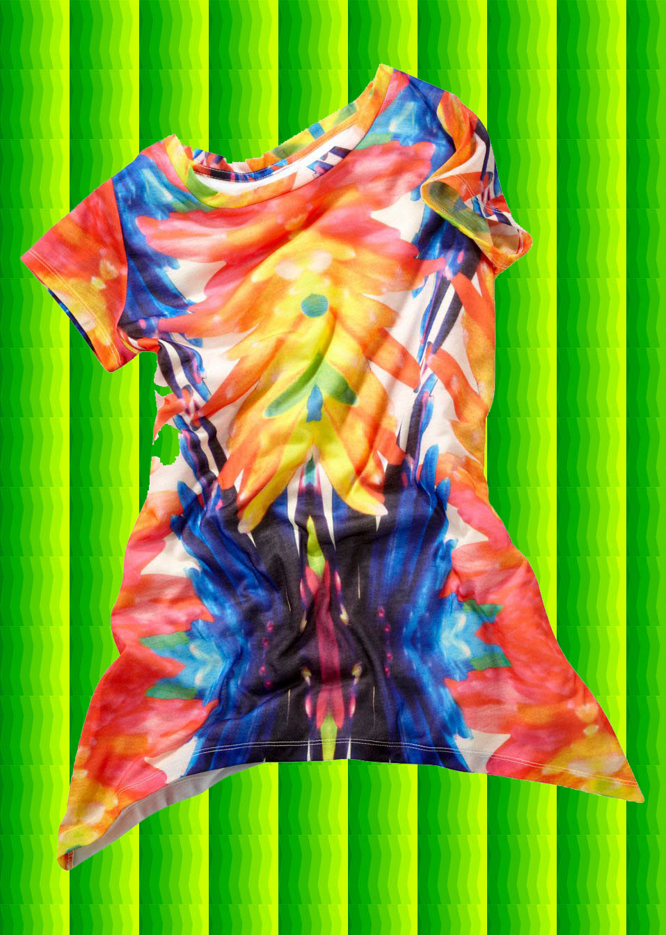 batik zipfel shirt hippie regenbogenfarbig 70er jahre woodstock bunt gr 44 46. Black Bedroom Furniture Sets. Home Design Ideas
