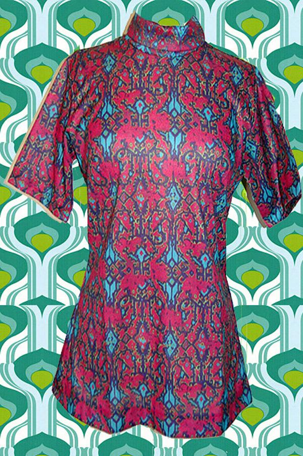 370 original 70er jahre hippie tunika shirt flower power im psychedellic. Black Bedroom Furniture Sets. Home Design Ideas
