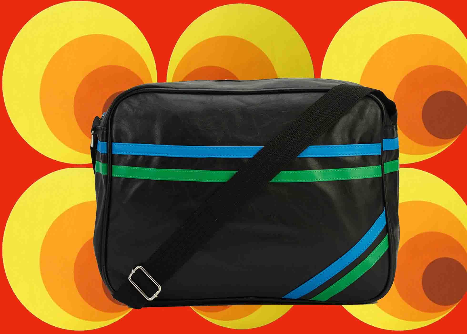 bcd0f8a16faf0 564✪ 70er Jahre Retro Herren Vintage UmhängeTasche Sporttasche schwarz grün  blau