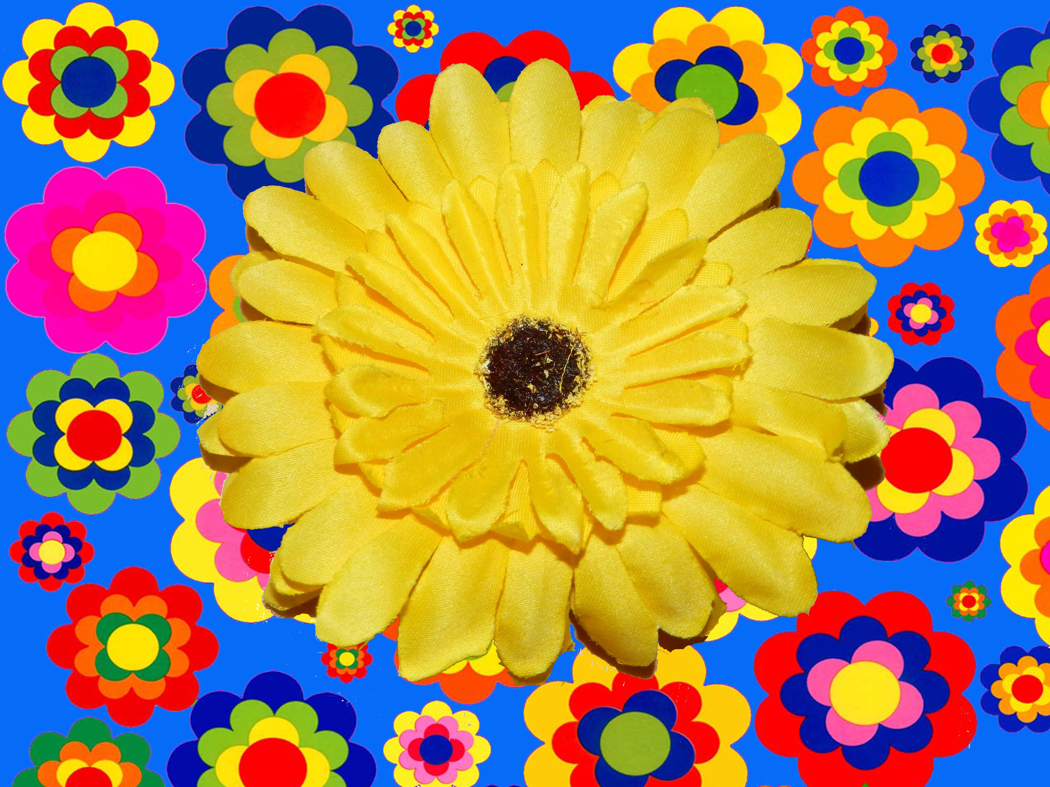 a22 70er jahre hippie flower power gerbera haarspange clip haarschmuck. Black Bedroom Furniture Sets. Home Design Ideas