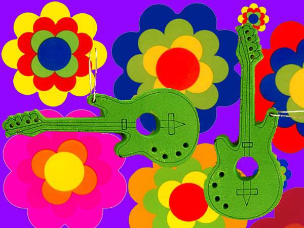 60er 70er jahre hippie ohrringe flower power gitarre woodstock festival gro. Black Bedroom Furniture Sets. Home Design Ideas