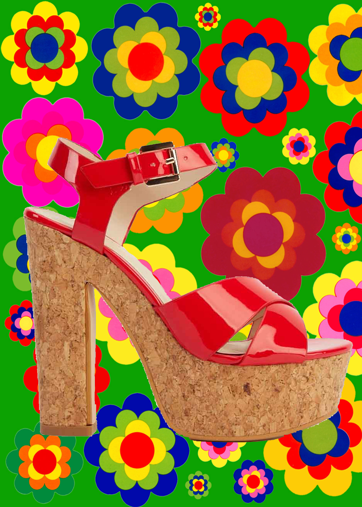 S8✪ 60er 70er Jahre Hippie Lack Plateau Schuhe Kork Riemchen Sandale rot