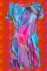 Pop Art Regenbogen Indian Sprit Boho Hippie Kleid Pfauen Feder kurzes Maxi dress